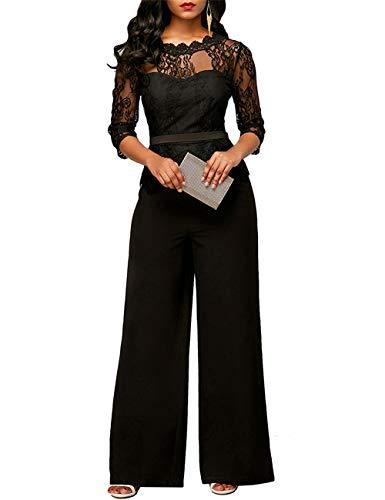 FeelinGirl Damen Jumpsuit Elegant Spitze Jumpsuit mit 1/2 Ärmel Bluse Overall Stilvoll Hohe Taille Weitem Bein Langhose Einteiler Hosenanzug Party Abendmode, Schwarz, XL (EU 42)