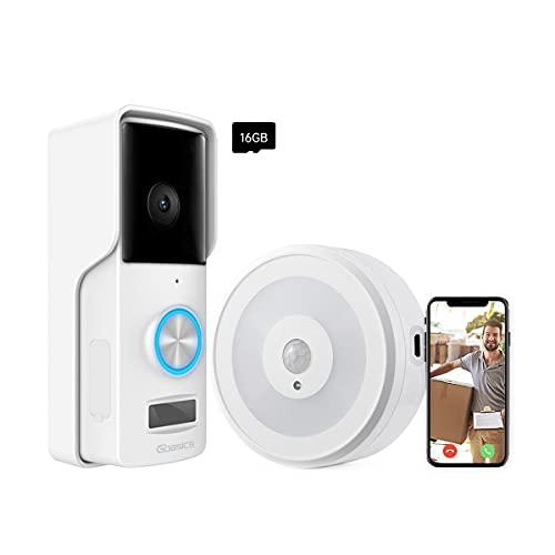 Gbasics Videocitofono Wifi, 1080P Campanello Senza Fili da Esterno Impermeabile IP65 con Visione Notturna, Cablaggio / Batteria Alimentato con Carta di TF da 16 GB, Compatibile con Android iOS