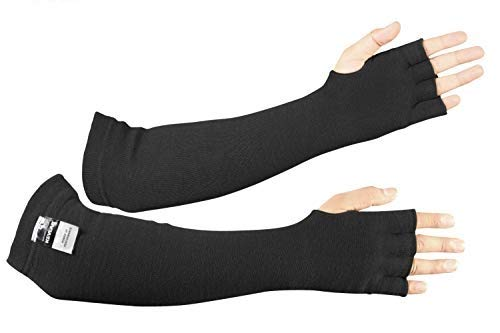 BSV Kevlar Protective Sleeves- Heat, Scratch & Cut Resistant Arm Sleeve with Finger Opening & Thumb Holes- Arms Safety Sleeves- Long Arm Guard Protector for Work- Bite Proof- 18 Inches, Black, 1 Pair