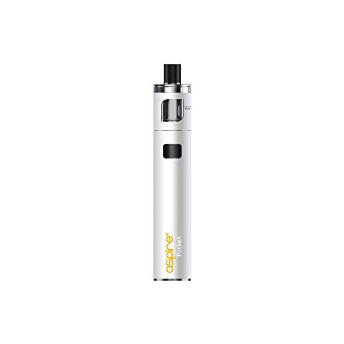 E-Zigarette, Aspire Pockex Starter Vape Kit, Pocket AIO All in One ,Top Airflow, 2ml E-Saft TPD Gefälliger Behälter, Keine E Flüssigkeit, Nikotin frei (Weiß)