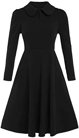 Romwe Women s Vintage 1950s Retro Collared Long Sleeve Fit and Flare Swing Party Dress Black product image