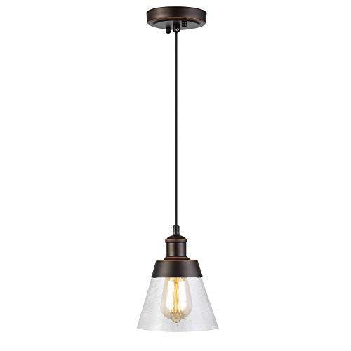Rustic Glass Pendant Light with Handblown Clear Seeded Glass Shade, One-Light Adjustable Industrial Cone Mini Pendant Lighting Fixture for Kitchen Island Cafe Bar Farmhouse, Oil Rubbed Bronze