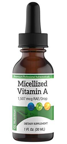 Micellized Vitamin A Drops   Liquid Vitamin A Supplement for Men & Women   Premium Liquid Palmitate & Beta Carotene Drops - 1,507mcg RAE - Equivalent to 5025IU per Drop   1 Oz by Great Lakes Nutrition