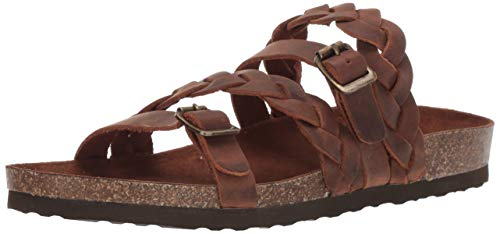 White Mountain Shoes Holland Women s Flat Sandal  Brown/Leather  8 M