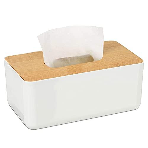 WOOD MEETS COLOR Kosmetiktücherbox Feuchttücher Box Holz Taschentücher Box Spender mit Bambusdeckel Weiße Rechteckige Taschentuchbox für Büro Küche Wohnzimmer (23X13X10 cm)