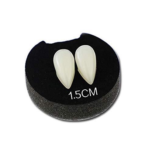 DEtrade Vampirzähne Set Custom Vampirzähne Vampir Zähne Fake Zahnersatz Pellets Selbstklebend für Cosplay Party Requisiten Halloween Party Zähnen (A 15mm)