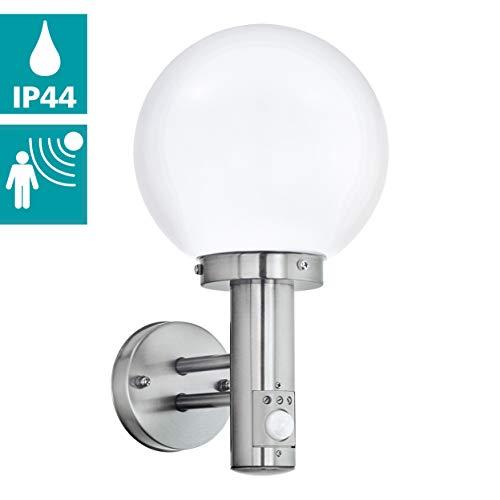 EGLO Außen-Wandlampe Nisia, 1 flammige Außenleuchte inkl. Bewegungsmelder, Sensor-Wandleuchte aus Edelstahl und Glas, Farbe: Silber, weiß, Fassung: E27, IP44