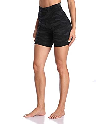"Colorfulkoala Women's High Waisted Yoga Shorts with Pockets 6"" Inseam Workout Shorts (L, Deep Grey Camo)"