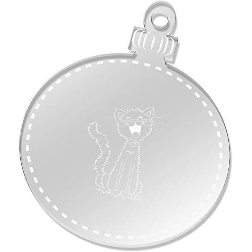 Azeeda 2 x 75mm 'Schäbige Singende Katze' Klare Weihnachtsdekoration (CB00026913)