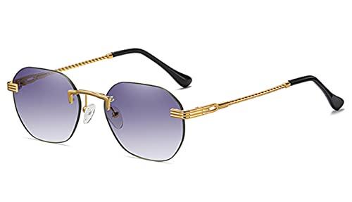 UKKD Gafas de Sol Gafas De Sol De Damas De Metal De Oro Marrón Lente Degradado De Diamas Azules De La Moda Azul De Moda para Hombres Uv400-Gold with Grey,As Show In Photo
