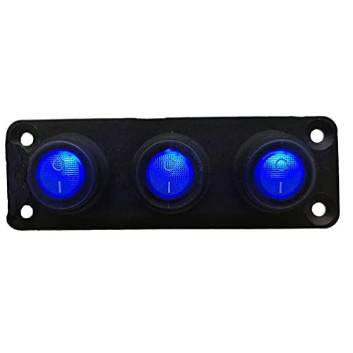 Mogzank Interruptor Basculante de Palanca de 12-24 V de 3 Bandas, Interruptor LED Impermeable para Luces Automotrices, Coche, Barco Marino, Yate