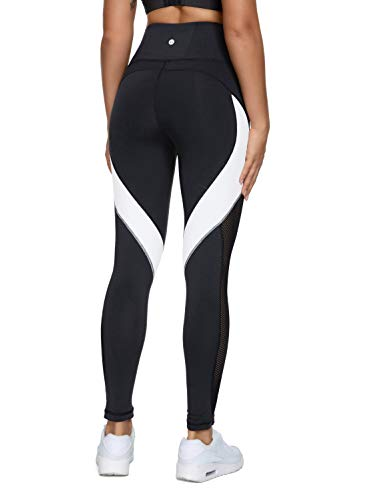 QUEENIEKE Women Yoga Pants Color Blocking Mesh Workout Running Leggings Tights Size S Color Black