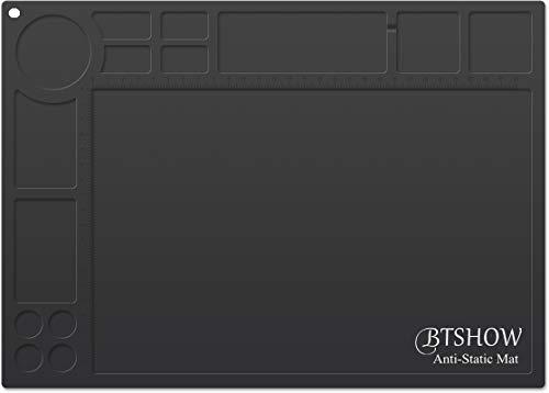 BTSHOW Antistatische Lötmatte 10 ^ 6-10 ^ 8 Ohm Widerstand, ESD-Matte Silikon Lötunterlage Hitzebeständig 500℃, Statisch Dissipative Desktop-Reparaturmatte für Elektronik/Laptop, 35X25cm(ESD Schwarz)