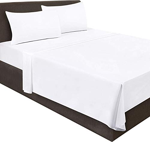 Utopia Bedding Flat Sheet- Soft Brushed Microfiber Fabric - Shrinkage & Fade Resistant Top Sheet - Easy Care - 1 Flat Sheet Only (Twin, White)