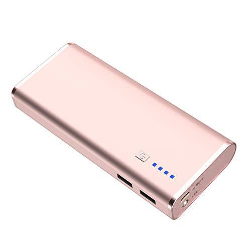 BONAI Bateria Externa Power Bank 10000mAh Batería Externa Móvil Carga Rápida 5V/2.1A con Linterna Compatible para iPhone Xiaomi Huawei Samsung Tablets y más Dispositivos (con Micro Cable)-Oro Rosa