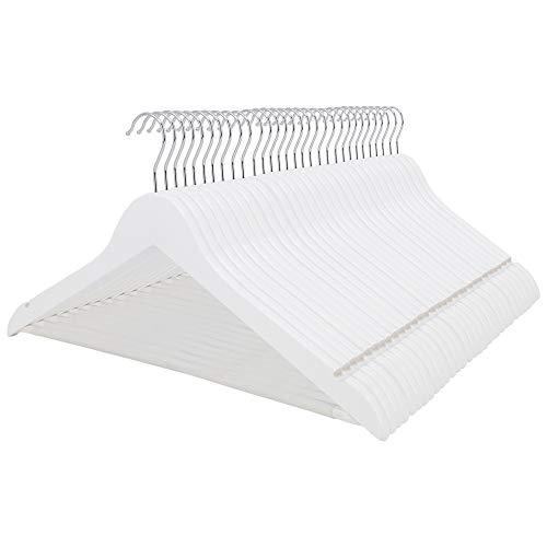 LANZZAS Kleiderbügel aus Ahornholz, 50 Stück, in weiß, mit rutschfestem Hosensteg und Zwei Rockkerben, für Klamotten Aller Art
