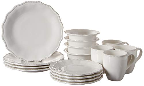 "American Atelier Bianca Bead Scallop Casual Round Dinnerware Set – 16-Piece Ceramic Party-4 Dinner & 4 Salad Plates, 4 Bowls, 4 Mugs – Gift for Special Occasion or Birthday, 10.75"", White"