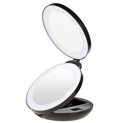 XIBALI Miroir de Poche,Double Face,Miroir Maquillage Compact,1×/5×Miroir Grossissant LED Pliable Miroir à Main avec Éclairage Naturel,pour Voyage et Déplacement,Alimenté par Piles