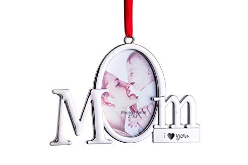 Klikel Mom Frame Picture Ornament – Holds One 2x3 Photo – Christmas Picture Frame Tree Decoration with Red Tie Ribbon – Silver