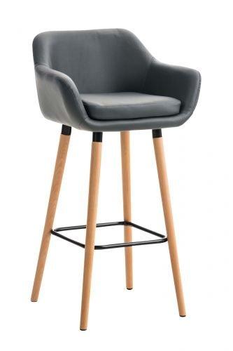 Tabouret de Bar Grant Similicuir - Chaise Haute de Bar Confortable Design Scandinave - Tabouret de Bar Industriel avec Dossier et Accoudoir, Couleurs:Gris