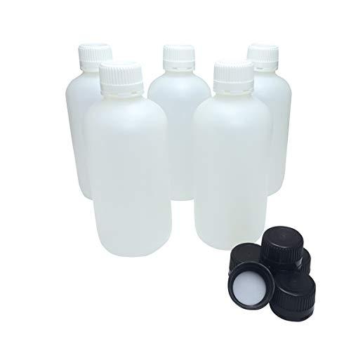 KENZIUM - Pack de 5 Botellas de Laboratorio + 5 Tapones Blancos + 5 Negros, para Muestras de 1000 ml   de Cuello Ancho, de Plástico HDPE