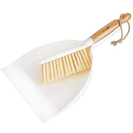 mDesign Juego de 2 utensilios de limpieza para barrer de bambú y plástico – Recogedor y escoba de mano con mango corto – Para limpiar la casa de manera rápida y eficaz – blanco/natural