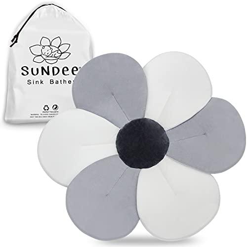 Flower Baby Bathtub Pad, Quick-Drying Baby Bath Mat for Newborns, Infant Bathing Soft Support, Bathtub Sink Bather - Gray (6-Petals)