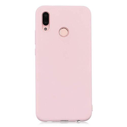 cuzz Funda para Huawei P20 Lite+{Protector de Pantalla de Vidrio Templado} Carcasa Silicona Suave Gel Rasguño y Resistente Teléfono Móvil Cover-Rosa Claro