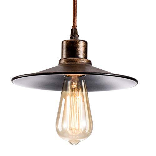 Industriële hanglamp plafondlamp met kleine plaat lampenkap opknoping Fairy Light voor Loft Restaurant Café eetkamer (lamp niet inbegrepen) (Bronzen)
