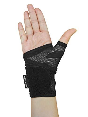 BODYVINE Unisex– Erwachsene Triple Plus 3-Lagen Kompressions Handgelenk Bandage mit Power-Band Compression Taping, Grau, S