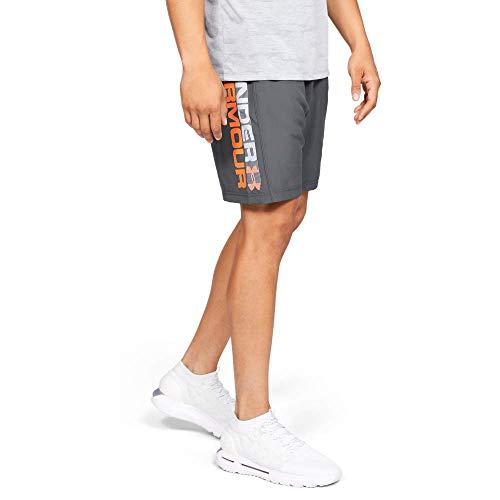 Under Armour Woven Graphic Wordmark pantalón Corto, Hombre, Gris (Pitch Gray/Orange Glitch), S