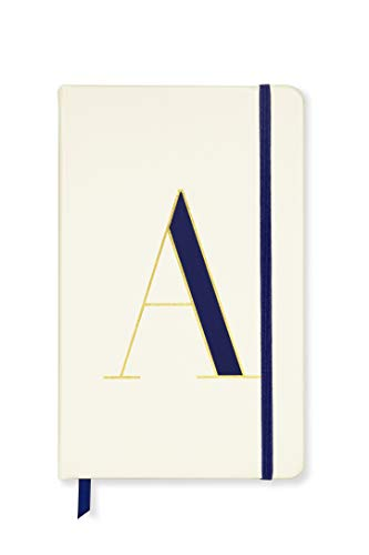 Kate Spade New York Take Note Large Leatherette Initial Notebook, 8.25' x 5.25' with 168 Pages, A (Blue)