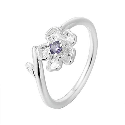 Gflyme Anillo abierto para mujer, elegante, elegante, morado, circonita, flor de cerezo, anillo unisex ajustable, joyería de plata, regalos para bodas, graduación, cumpleaños, cumpleaños, promesa