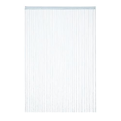 Relaxdays Tenda a Fili, 145x245 cm, con Passante, per Porte e Finestre, a Frange Accorciabili, Antimosche, Argento, 145 x 245