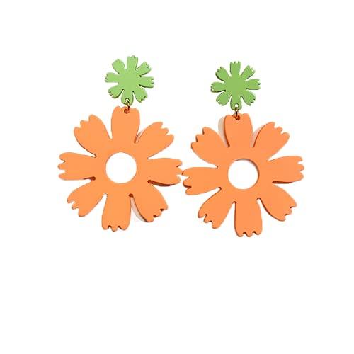 Pendientes Aretes Accesorios de Hueso de Oreja Flores delicadas Flores Lindas Piñas pequeñas Piñas pequeñas Frescas Frutas (Verde+Naranja)