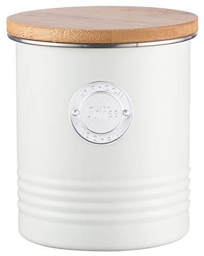 Typhoon Living Collection Kaffee, pastellcreme, 1 Liter Vorratsbehälter, Stahl, Holz, Silikon, Creme