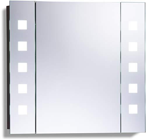 Neue Design Badkamerspiegelkast met LED-verlichting 60cm(h)X65cm(b)X13cm(d) Draadloze Demister, scheerstopcontact en sensorschakelaar met verlichting C20