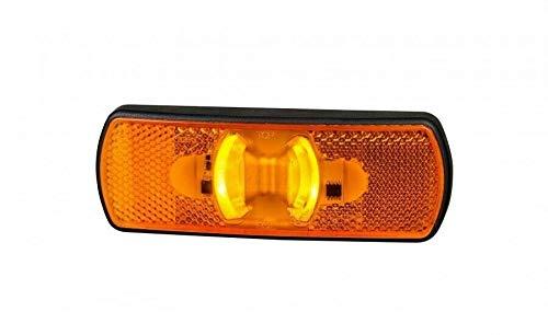 Faro de gálibo LED intermitente naranja 2 funciones posición lateral, luz intensa 12-24 V, E9 para camión, remolque, furgoneta, camión, remolque, furgoneta, casis