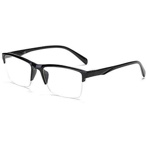 VEVESMUNDO leesbril heren dames modern halmontuur leeshulp half rand zwart bril 0,75 1,0 1,25 1,5 1,75 2,0 2,25 2,5 2,75 3,0 3,25 3,5