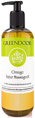 500ml Greendoor Massageöl Orange, BIO Jojobaöl Aprikosenkernöl und natürlich reines ätherisches Orangen-Öl, ideales Natur Körperöl vegan, Naturkosmetik, Massage ohne Paraffin, Geschenke