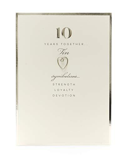 Biglietto di auguri per 10° anniversario di matrimonio, in latta, per anniversario di 10 anni