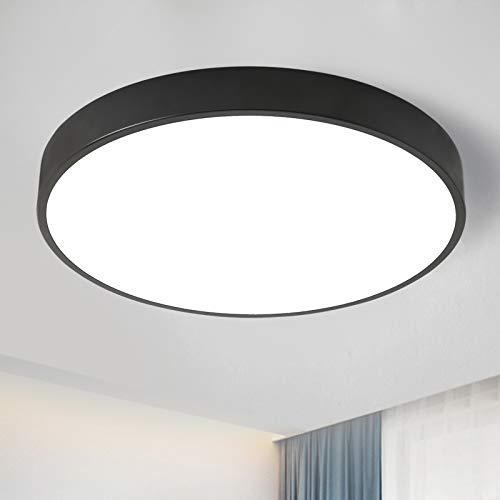 Lámpara de techo ultrafina, redonda, color blanco cálido, 3000 K, para cocina, vestíbulo, dormitorio, 24 W, color negro