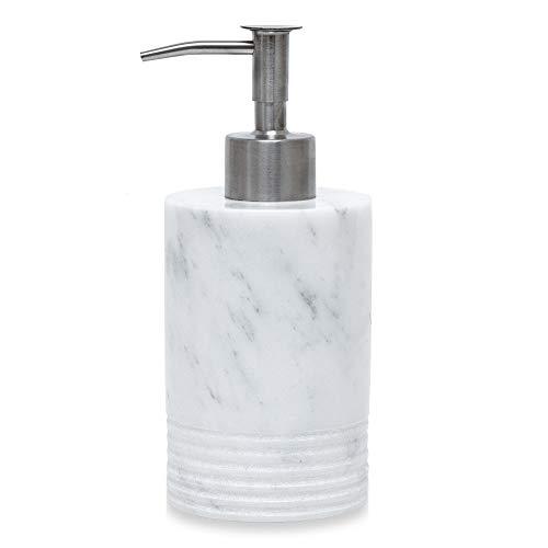 DYMALAN Dosatori per Sapone Liquido In Marmo Con Pompa In Acciaio Inossidabile Per Il Controsoffitto Del Bagno E Della Cucina - Bottiglia Di Sapone Con Erogatore Di Lozione E Liquido Bianco