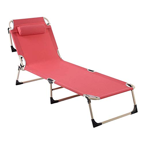 Folding Sun Lounger with Ultra Comfortable Pillow Garden Sun Lounger Breathable Fabric Sturdy and Durable Metal Frame Perfect for Garden Home Office Beach Camping(Red)