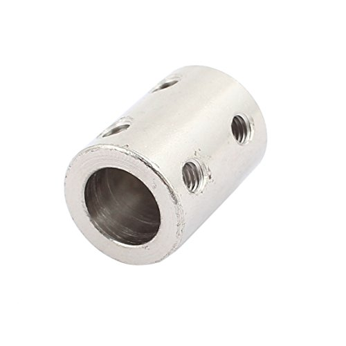 uxcell 6mm to 10mm Bore Rigid Coupling 22mm Length 16mm Diameter Motor Shaft Coupler Connector C45 Steel Silver Tone