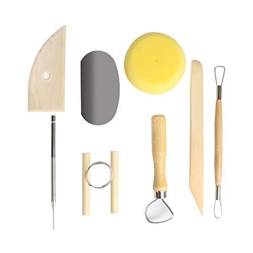 8 Stück Töpferwerkzeug-Set Keramik Ton Werkzeugsatz,Modellierwerkzeug Clay Keramik Sculpting Ton Werkzeug mit eine Aufbewahrungstasche für Töpfer Künstler für Halloween,Ideal zum Töpfern