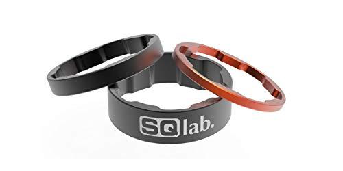 Sqlab Conjunto de espaciadores 1 1/8' Recambio, Adultos Unisex, Negro-Naranja, 2,5/5 / 10 mm