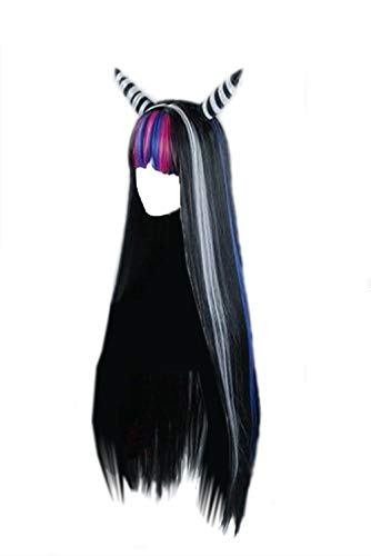 Coslive Hero Academia Colorful Wig Multiple Role Cosplay Wig, Black, Size: Length about 89cm