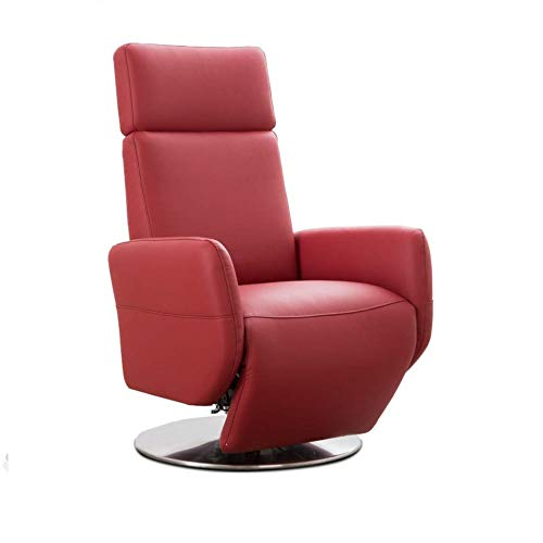 Cavadore TV-Sessel Cobra mit 2 E-Motoren / Elektrischer Fernsehsessel mit Fernbedienung / Relaxfunktion, Liegefunktion / Ergonomie S / Belastbar bis 130 kg / 71 x 108 x 82 / Echtleder Rot
