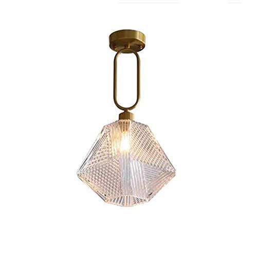 WYBW Candelabro, Lámpara colgante de lujo moderno con acabado en latón con pantalla de cristal facetado Lámpara colgante de techo de barra de desván Araña de cristal para dormitorio Comedor Cafetería